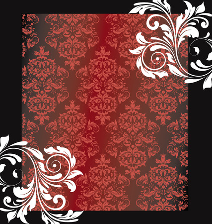 Vintage invitation card with ornate elegant abstract floral design, red and white flowers on black. Vector illustration. Illustration