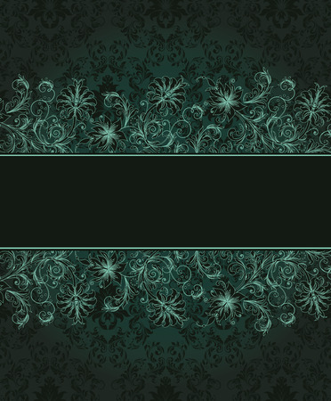 royal background: Vintage invitation card with ornate elegant abstract floral design, bright blue green flowers on dark green background with black ribbon. Vector illustration.