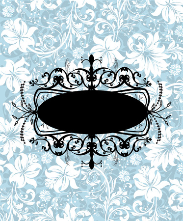 Vintage invitation card with ornate elegant abstract floral design, black and white flowers on light blue background. Vector illustration.