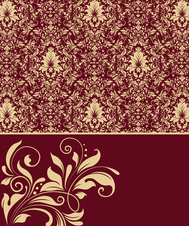 Vintage invitation card with ornate elegant abstract floral design, gold flowers on royal red background. Vector illustration.