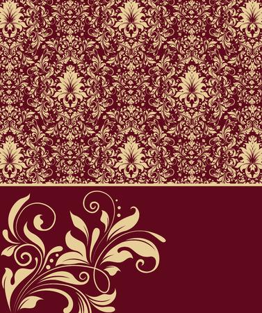 royal background: Vintage invitation card with ornate elegant abstract floral design, gold flowers on royal red background. Vector illustration.
