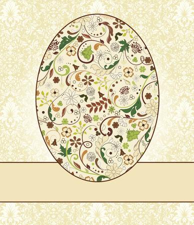 invitation background: Vintage Easter invitation card with ornate elegant retro abstract floral design, multi-colored flowers on egg with ribbon and pale yellow and white background. Vector illustration.
