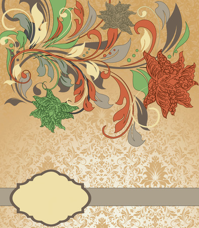 groene bloemen: Vintage invitation card with ornate elegant abstract floral design, dark coral and asparagus green flowers on orange background with gray ribbon. Vector illustration.