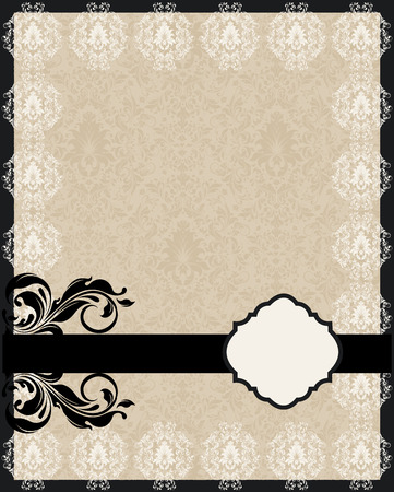 Vintage invitation card with ornate elegant abstract floral design, black and white flowers on tan background with ribbon. Vector illustration.