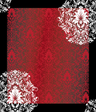Vintage invitation card with ornate elegant abstract floral design, white and red flowers on black background with frame. Vector illustration. Ilustrace