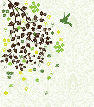 groene bloemen: Vintage invitation card with ornate elegant abstract floral tree design, brown tree with yellow green and green flowers on light green background with bird. Vector illustration.