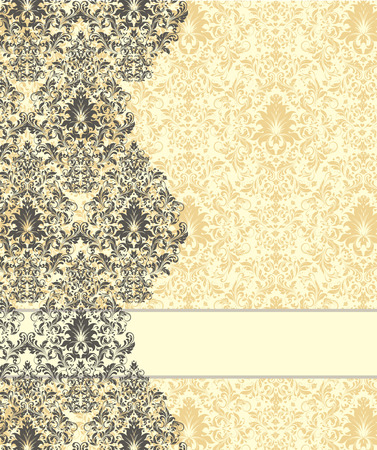 flax: Vintage invitation card with ornate elegant abstract floral design, gray and flax yellow on pale yellow background. Vector illustration.
