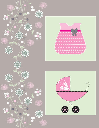 groene bloemen: Vintage baby shower invitation card with ornate elegant retro abstract floral design, pink white and green flowers on gray with baby carriage and dress. Vector illustration.