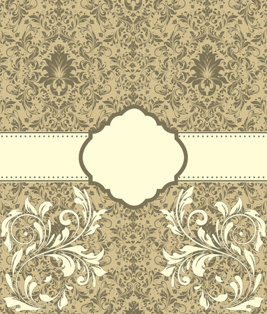 flesh: Vintage invitation card with ornate elegant abstract floral design, flesh and pastel brown flowers on tan background with ribbon. Vector illustration. Illustration