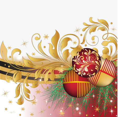 pine needles: Vintage Christmas card with ornate elegant abstract floral design, red and gold with Christmas balls, ribbon, pine needles, stars and snowflakes. Vector illustration. Illustration