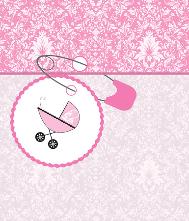 Vintage baby shower invitation card with ornate elegant retro abstract floral design, pink with baby carriage on cake and safety pin. Vector illustration. Illustration