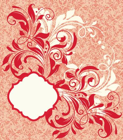 fire engine: Scheda dell'invito dell'annata con un design elegante ornate retro astratto floreale, rosso fuoco e fiori bianchi su rame pallido e arancio sfondo chiaro. Illustrazione vettoriale.