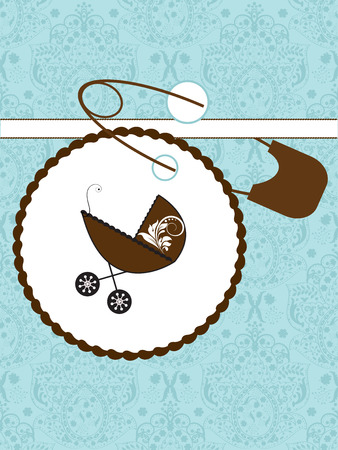 themes: Vintage baby shower invitation card with ornate elegant retro abstract floral design, aquamarine blue flowers with brown baby carriage on cake and safety pin. Vector illustration. Illustration