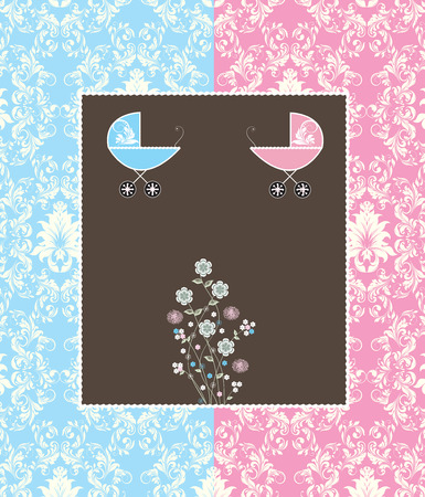 baby blue: Vintage baby shower invitation card with ornate elegant retro abstract floral design, light blue and pink with baby carriage on brown background. Vector illustration.