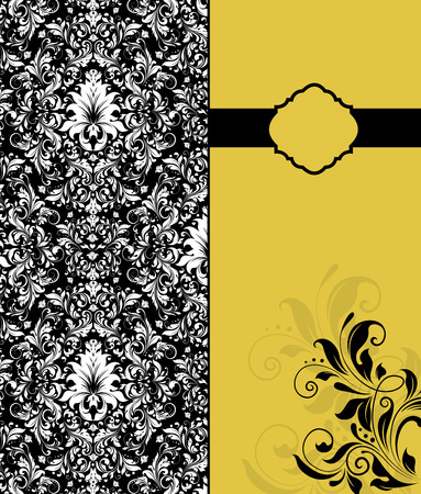 Vintage invitation card with ornate elegant retro abstract floral design, white flowers on black background and black flowers on saffron yellow background with ribbon. Vector illustration.