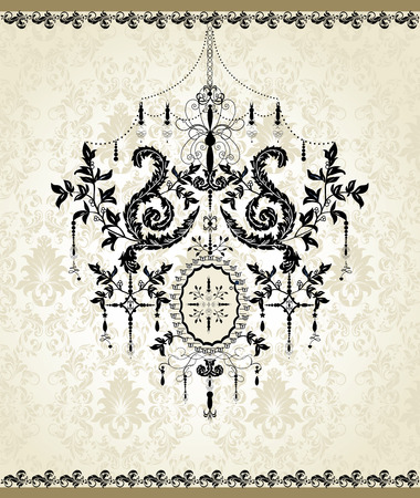 Vintage invitation card with ornate elegant abstract floral design, black on gray with chandelier. Vector illustration. 일러스트
