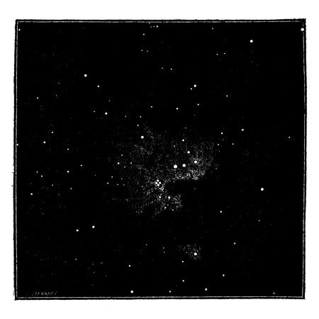 orion: The Orion Nebula, after the direct photography. Primitive cosmic matter and condensation, vintage engraved illustration. Earth before man – 1886.