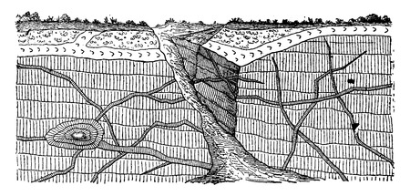 stratified: Example eruptive veins through the stratified rocks, vintage engraved illustration. Earth before man – 1886.