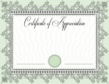 Vintage certificate of appreciation with ornate elegant retro abstract floral design, black and laurel green flowers and leaves on pale green background with frame border. Vector illustration.
