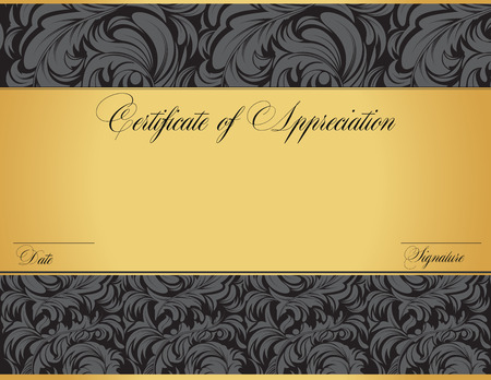 love proof: Vintage certificate of appreciation with ornate elegant retro abstract floral design, dark gray flowers and leaves on black and gold background with tri-section. Vector illustration. Illustration