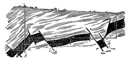 mines: Section of the coal seam Montceau-les-Mines, a line parallel to the direction of the tilt, vintage engraved illustration. Earth before man – 1886. Illustration