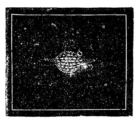 """De Saturnus nevel van Waterman. Afbeelding van een wereld in opleiding, vintage gegraveerde illustratie. Aarde voordat de mens â € """"1886. Stock Illustratie"""