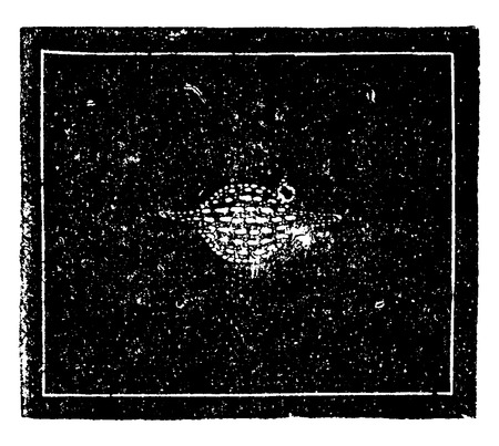 engraved image: The Saturnian nebula of Aquarius. Image of a world in training, vintage engraved illustration. Earth before man – 1886. Illustration