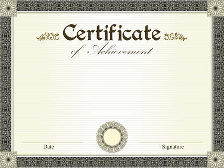 fondo de graduacion: Certificado de la vendimia de logro con flores de diseño retro elegante adornado abstracto floral, negro y oro y hojas en rayas de color amarillo pálido fondo verde con el borde del marco. Ilustración del vector.