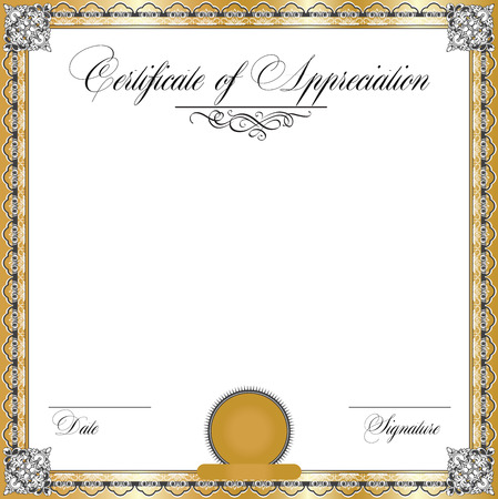 Vintage certificate of appreciation with ornate elegant retro abstract floral design, dark gray and white flowers and leaves on gold and white background with frame border. Vector illustration.