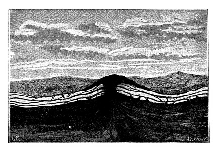 rock layer: The first uprisings of the crust, granite, vintage engraved illustration. Earth before man – 1886.
