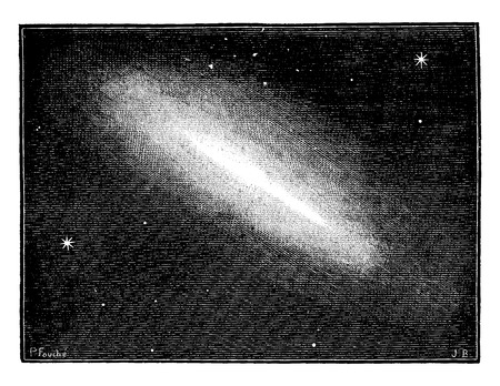 shone: Earth shone in space like a shell of a pale sun clouds, vintage engraved illustration. Earth before man – 1886.
