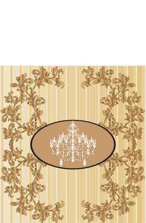 Vintage invitation card with ornate elegant retro abstract floral design, gold flowers and leaves on striped beige and light brown background with ellipse frame with chandelier and text label. Vector illustration.