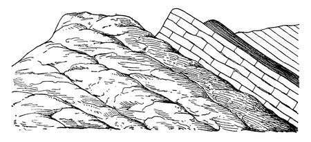 Lagen waargenomen op eruptieve massa, vintage gegraveerde illustratie. Aarde voordat de mens - 1886.