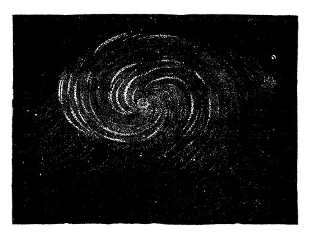 The spiral nebula in the constellation of the Hunting Dogs, showing the result of interior movements, vintage engraved illustration. Earth before man – 1886.