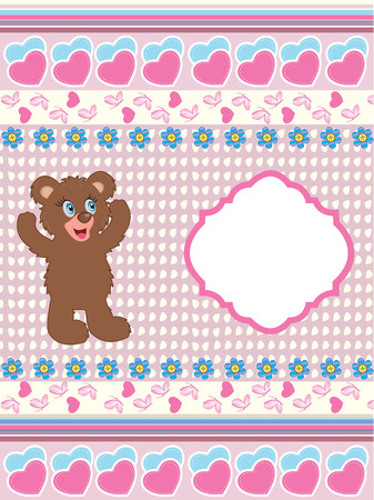 blue plaque: Vintage Valentine card with cute ornate elegant retro abstract design, cute brown teddy bear with blue and yellow flowers on light pink and pale yellow background with butterflies hearts ribbon and plaque text label. Vector illustration.