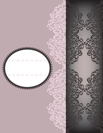 oblong: Vintage invitation card with ornate elegant retro abstract floral design, pale light purple and gray flowers and leaves on pale purple and gray black background with divider and oblong text label. Vector illustration.