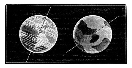 Compared tilt of the axis of the Earth and Venus axis, vintage engraved illustration. Earth before man – 1886. Illustration