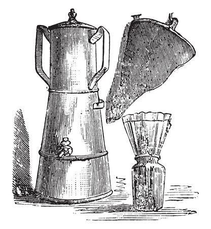 Filter coffee; filter paper placed on a jar ordinary shoes, vintage engraved illustration. Ilustrace