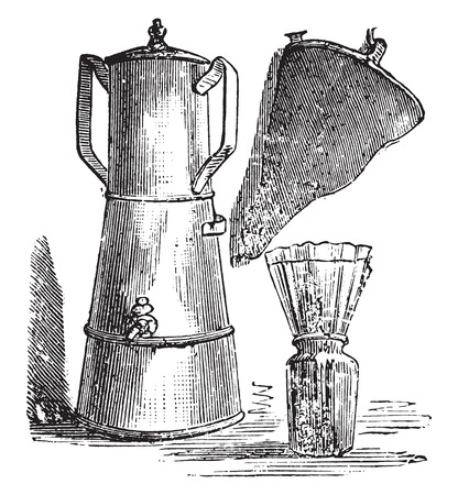 ordinary: Filter coffee; filter paper placed on a jar ordinary shoes, vintage engraved illustration. Illustration