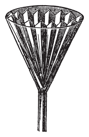 Filter paper inserted into the funnel, vintage engraved illustration. Иллюстрация