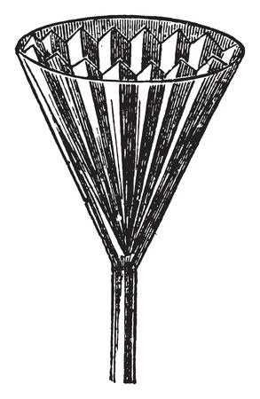 papel filtro: Papel de filtro insertado en el embudo, cosecha ilustraci�n grabada.