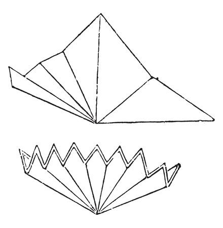 첫날: Premiere way to fold the filter paper, vintage engraved illustration.
