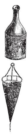 funnel: Portable filter, vintage engraved illustration.