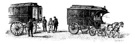 Mobile cars, vintage engraved illustration. Paris - Auguste VITU – 1890. Ilustração