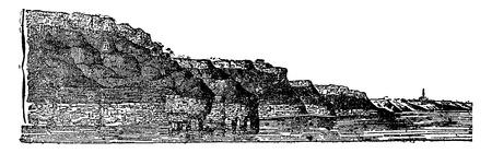 commune: Jurassic visible means land on the cliffs of Calvados, vintage engraved illustration. Earth before man – 1886.