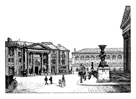 que: Law school and Bibliothèque Saint Genevieve, vintage engraved illustration. Paris - Auguste VITU – 1890.