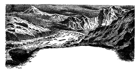 ranges: The Miocene period, vintage engraved illustration. Earth before man – 1886.