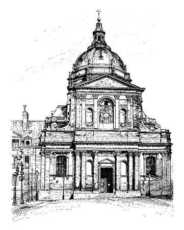 The church of the Sorbonne, vintage engraved illustration. Paris - Auguste VITU – 1890.