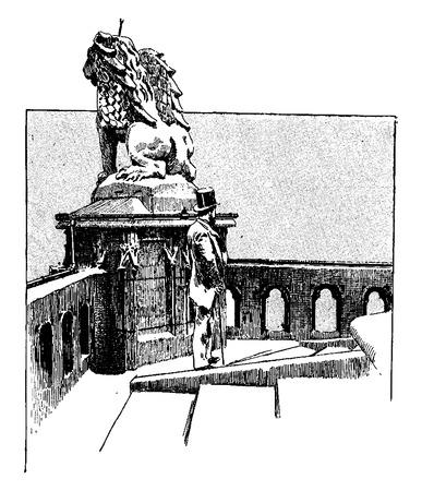 jacques: Terrace of the Tower of Saint Jacques, vintage engraved illustration. Paris - Auguste VITU – 1890. Illustration
