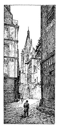 religious building: The area around the church, vintage engraved illustration. Paris - Auguste VITU – 1890.